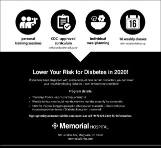 Lower your risk for Diabetes in 2020!