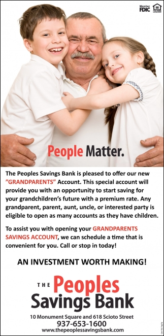 The Peoples Savings Bank is pleased to offer our new Grandparents Account