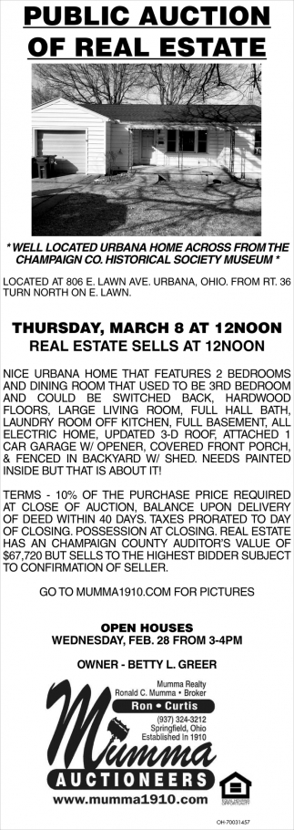 Public Auction of Real Estate