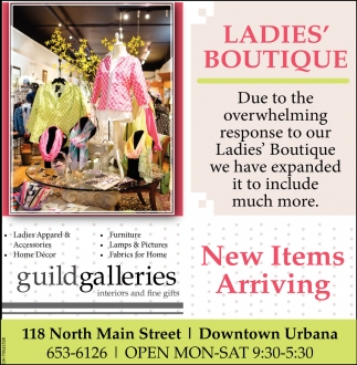 Ladies Apparel Home Decor Furniture Guild Galleries Interiors