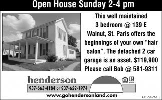 Open House Sunday 2-4 pm