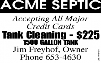Tank Cleaning $225