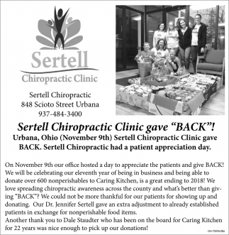 Sertell Chiropractic Clinic gave Back!