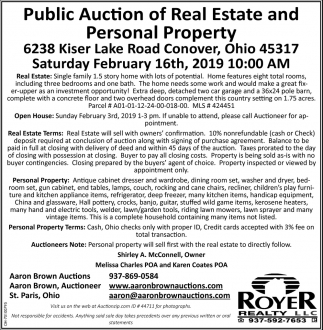 Public Auction of Real Estate and Personal Property