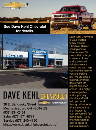 See Dave Kehl Chevrolet for details