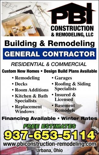 General Contractor, PBI Construction & Remodeling, LLC