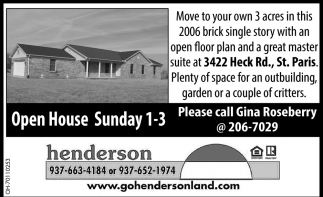 Open House - 3422 Heck Rd., St. Paris