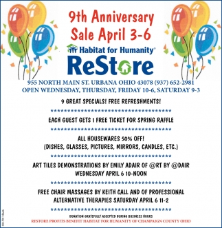 9th Anniversary Sale - April 3 -6