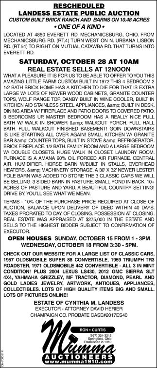 Rescheduled landess state public auction