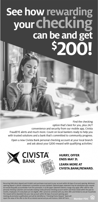 See how rewarding your checking can be and get $200!