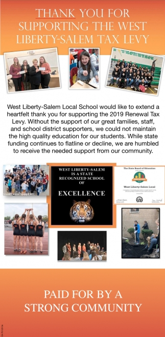 Thank you for supporting the West Liberty-Salem Tax Levy