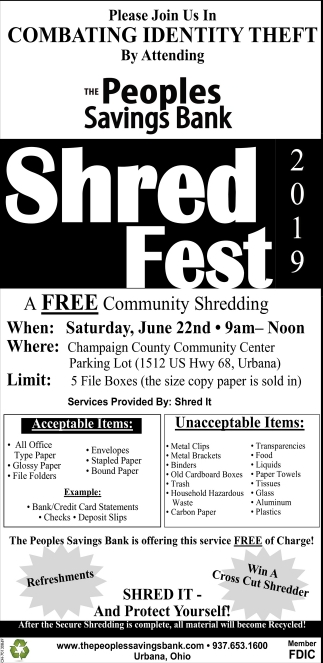 At Champaign County Community Center, 2019 Shred Fest