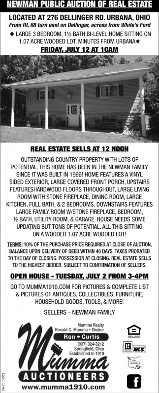 Newman Public Auction of Real Estate