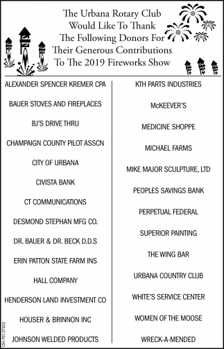 Thank the Donors For Their Generous Contributions To The 2019 Fireworks Show