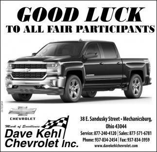 Good Luck To All Fair Participants Dave Kehl Chevrolet Inc