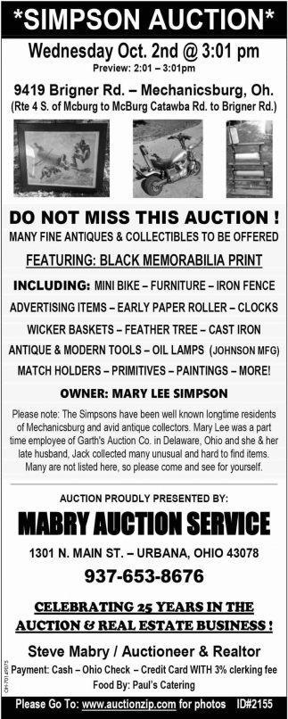 Simpson Auction - Oct. 2nd